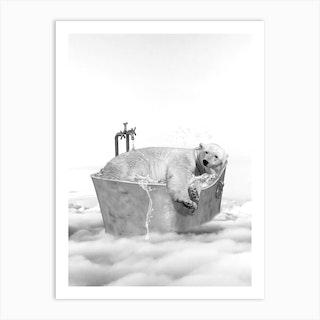 Polar Bear Bath Art Print