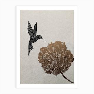 Peony And Hummingbird Linocut Art Print