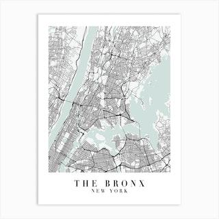 The Bronx New York Street Map Minimal Color Art Print