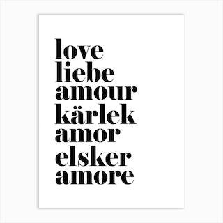 Love Liebe Black Art Print