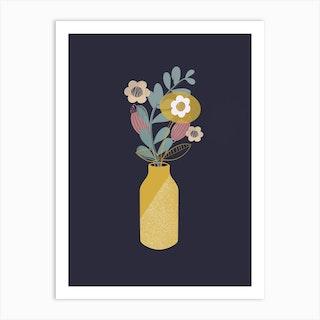 Yellow Pop Vase Art Print