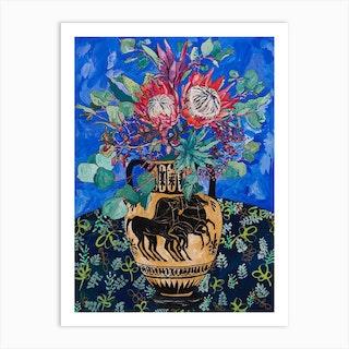 Protea Bouquet On Ultramarine Blue With Greek Horse Urn Art Print