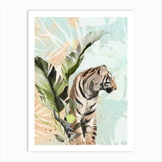 Tiger With Leaf Art Print