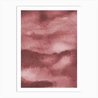 Aquarelle Meets Pencil Peach Clouds Art Print