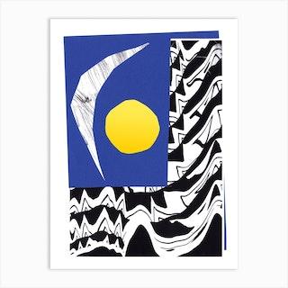 Sun And Moon Collage Art Print