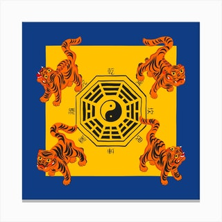 Bagua Tigers Blue Square Canvas Print
