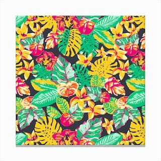 Tropical Garden Floral Canvas Print