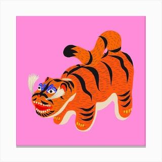 Hariko No Tora Pink Tiger Doll Square Canvas Print