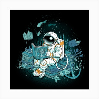 A Reader Lives A Thousand Lives Cosmonaut Under The Sea Square Canvas Print