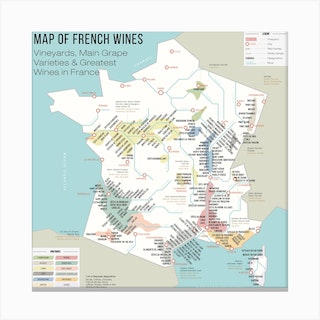 Map Of French Wines Square Canvas Print