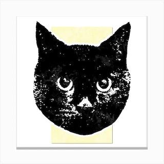 Soft Yellow Cat Square Canvas Print