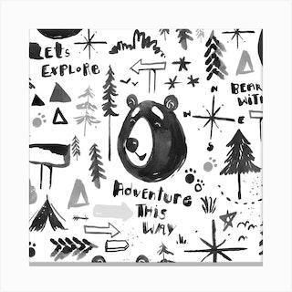 Bear Adventure Square Canvas Print