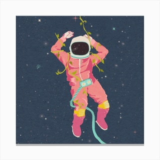 The Flying Astronaut Square Canvas Print
