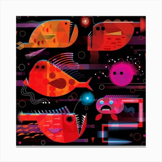 Abyssal Fish 1 Square Canvas Print