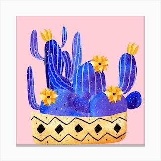 Golden Pot And Cactus Composition Square Canvas Print