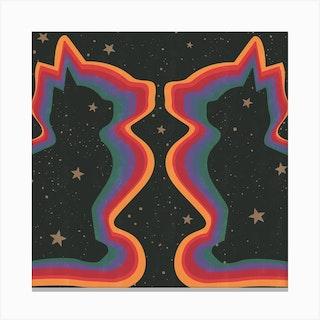 Rainbow Cats Square Canvas Print