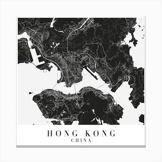 Hong Kong China Minimal Black Mono Street Map  Square Canvas Print