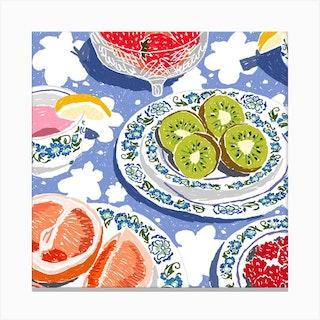 Fruit Tea Party Square Canvas Print
