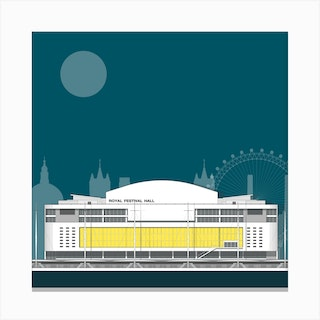 Royal Festival Hall Blue Canvas Print