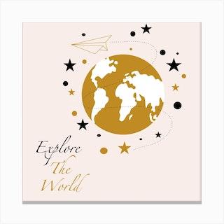 Golden World Map Square Canvas Print