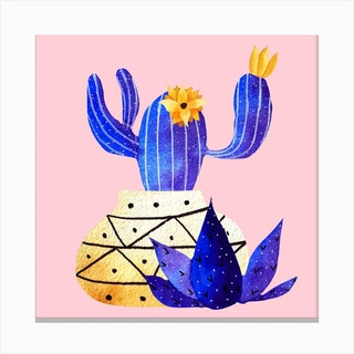 Golden Pot And Cute Cactus Square Canvas Print