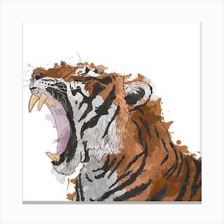 Roaring Tiger White Square Canvas Print