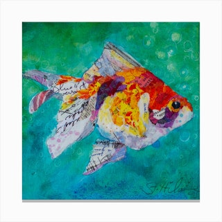Colorful Collage Artwork Fan Tail Goldfish Square Canvas Print