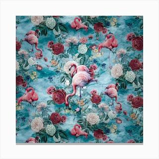 Flamingos Square Canvas Print
