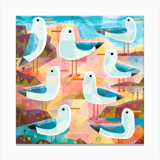 Seagulls On The Shore Square Canvas Print