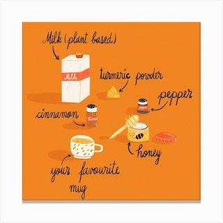 Golden Latte Recipe Square Canvas Print