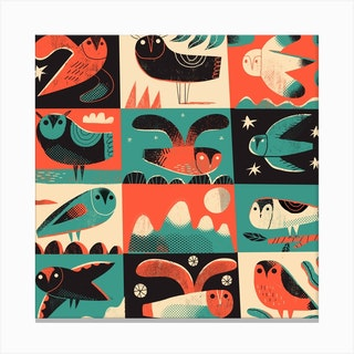 Owls 2 Square Canvas Print