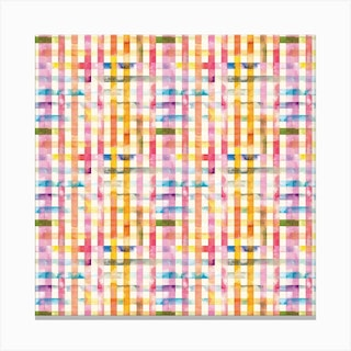 Gingham Vichy Yellow Square Canvas Print