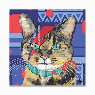 Bowie Tabby Cat Square Canvas Print