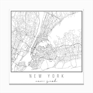 New York New York Street Map Canvas Print