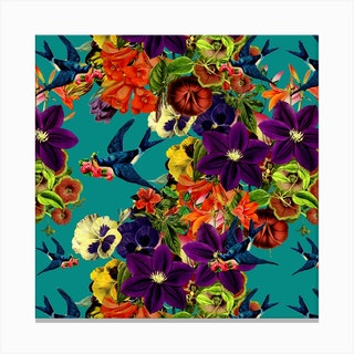 Spring Swallow Square Canvas Print