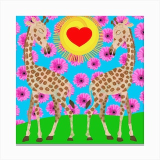 Love In The Air Square Canvas Print