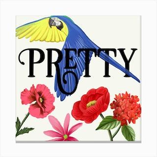 Pretty Parrot Square Canvas Print