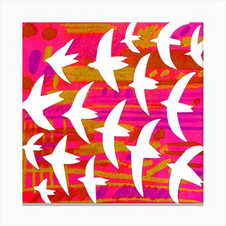 Birds Red Square Canvas Print