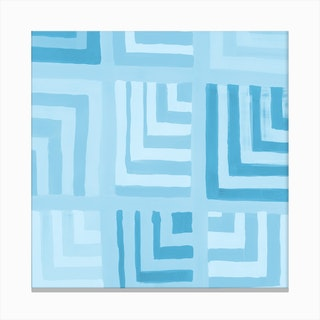Painted Color Block Squares In Mint Canvas Print