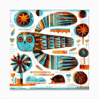 Owl And Hedgehog Square Canvas Print