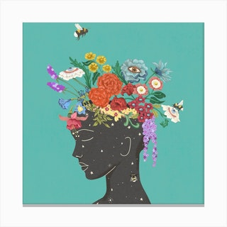 Flourish In Blue Square Canvas Print