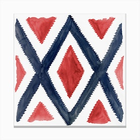 Del Rio Watercolor Print In Red And Blue Canvas Print
