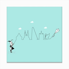 Basel Skyline Kite Canvas Print