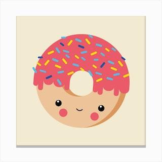 Nursery Kawaii Donut Canvas Print
