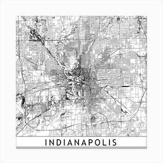 Indianapolis Map Canvas Print