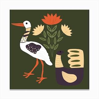 Folkie Stork 1 Canvas Print