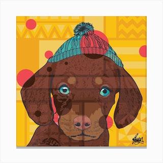 Dexter Dachshund Square Canvas Print