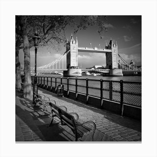 London Thames Riverside & Tower Bridge Square Canvas Print