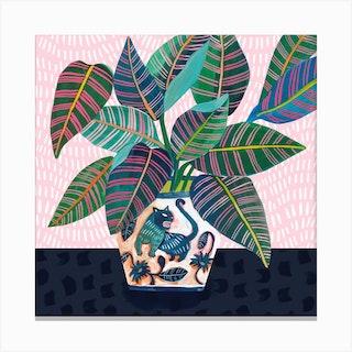 Wild Cat Square Canvas Print