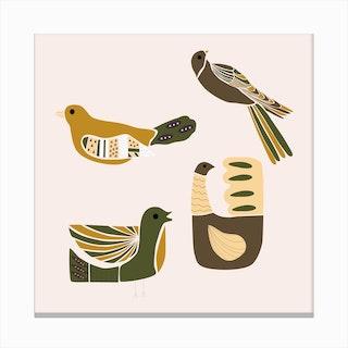 Folkie Elegant Birds 1 Canvas Print